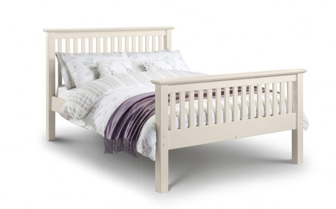Barcelona White Bed Frame High Foot End